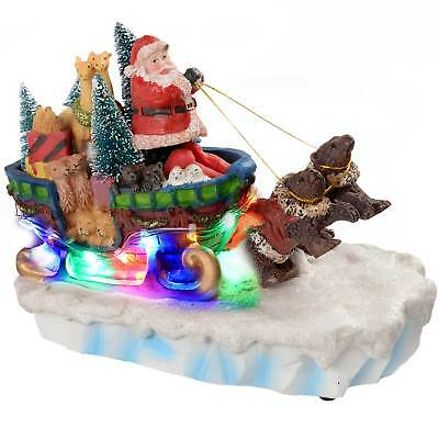 Animated Santa In Sleigh with Bears & Colourful LED Lights Decoration - 28cm