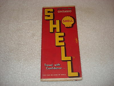 1950s Shell Oil Road Map of ONTARIO CANADA
