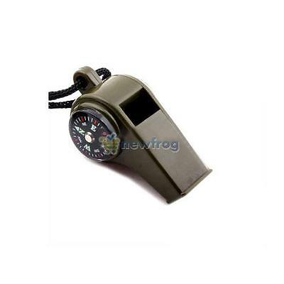 SN9F Whistle Compass 3in1 Survival Camping Thermometer C1