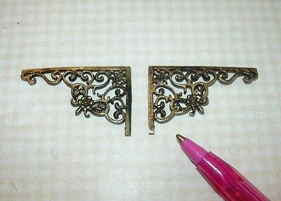 Miniature Fancy Antique Gold Wall Brackets #2 DOLLHOUSE Miniatures 1/12 Scale
