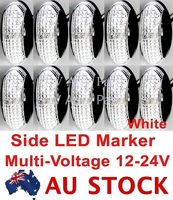 10X 12V 24V White Side LED Marker DOT Tail Light Lamp Clearance Trailer AU Stock