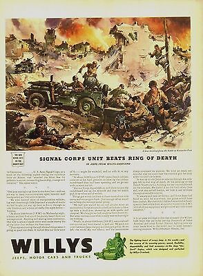 1943 Willys Jeep Ad Heroic Officers brave death for men North Africa  4310