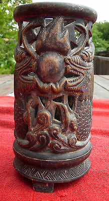 China  Chinese   brush pot holder vintage antique    dragon  carved 19th Century