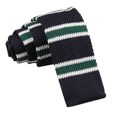 DQT Knit Knitted Thin Stripe Navy Green with White Casual Mens Skinny Tie