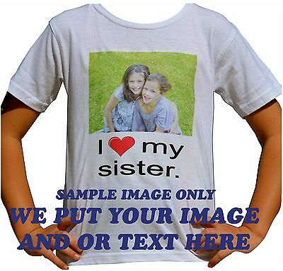 Customised / Personalised kids t shirt print with your colour image or writing.