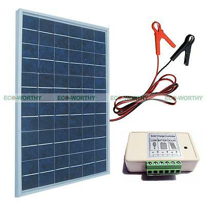 10W Solar Panel system-3A charge controller W/ 30A battery clips 12V Backpack