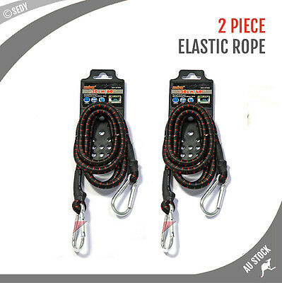 2 X 150cm Heavy Duty Elastic Bungee Cord Carabiner Clips Strap Truck Tie Down