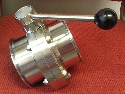 """Tri-Clover - 4""""- Stainless Steel Butterfly Valve, Tri-Clamp Fittings"""
