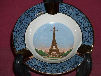 Decor LIMOGES FRANCE Eiffel Tower Ashtray Blue and Gold flower design and trim