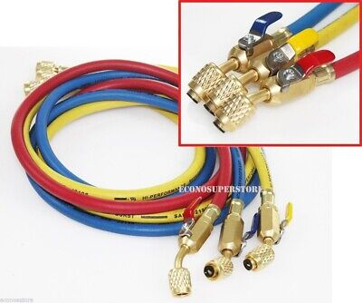 "R134a R410A R22 3 color 5ft HVAC AC Charging Hoses 1/4"" Fitting w/ Ball Valves"