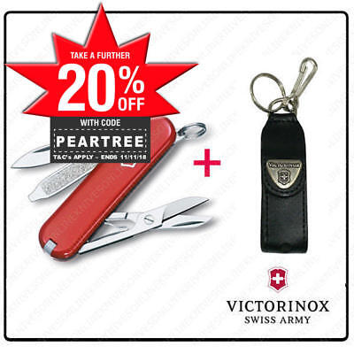 SWISS ARMY KNIFE Swiss Classic SD RED VICTORINOX + LEATHER POUCH BUNDLE