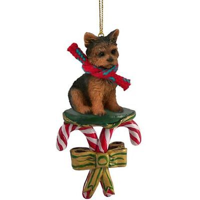 Yorkshire Terrier YORKIE Puppy Cut Candy Cane Holiday ORNAMENT