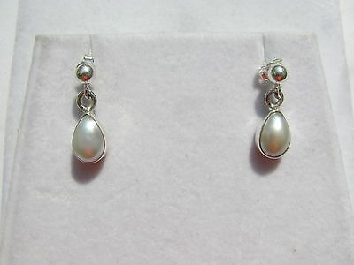 Mabe Perle weiss Ohrhänger- Pearl Earrings 925 Silber E7457