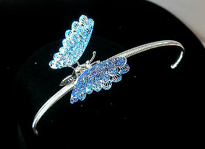 Beautiful Sky Blue Butterfly Glittery Head Bands Silver Brand New Unique (Zx40)