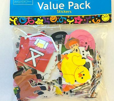 100 Farm Barn Animals Self Adhesive Foam Shapes Stickers Teacher Supply Cow Pig