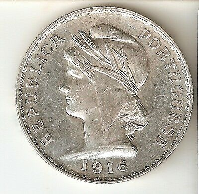 NICE SILVER COIN FROM PORTUGAL 1 ESCUDO YEAR 1916  KM. 564 QUALITY UNC