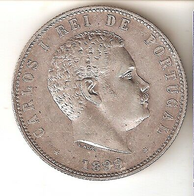 KM-540 SILVER COIN FROM PORTUGAL 1000 REIS YEAR 1899 CARLOS I VERY GOOD QUALITY