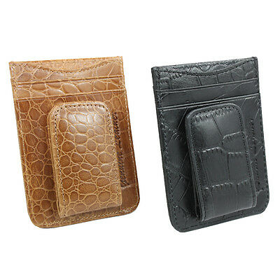 Men's Genuine Leather Wallet ID Credit Card Holder with Magnetic Money Clip