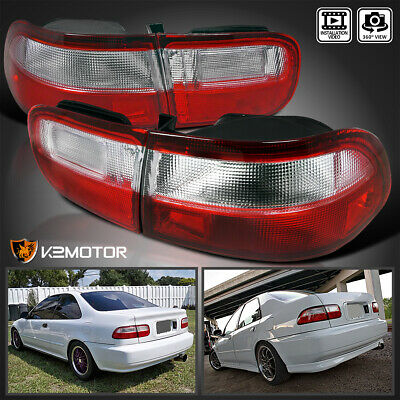 For 92-95 Honda Civic 2/4Dr JDM Red & Clear Tail Lights Brake Lamps