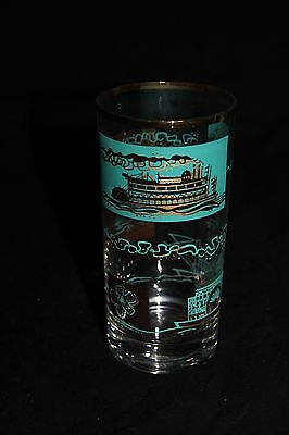 9 Vintage Southern Comfort STEAMBOAT Turquoise & Gold High Ball Bar Glasses MINT