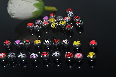 50pcs Logos Balls 1.6x6mm Body Jewelry Replacement for tongue Ring Bar Barbells