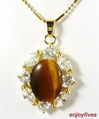 Natural Tigereye Tiger's Eye Opal Yellow Gold Plated Crystal Pendant & Necklace