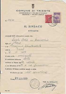 (ITC5) 1955 Italy police good citizenship certificate