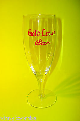 VINTAGE GOLD CROWN BEER GLASS PILSNER WITH RAISED RED LETTERING 7 INCH BARWARE !