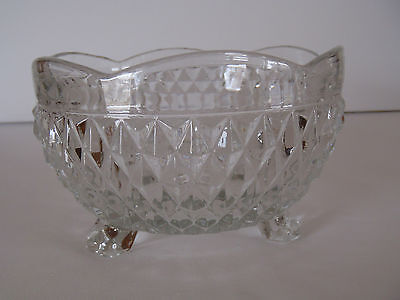 3 Toed Crystal Clear Diamond Point Bowl - Indiana Glass