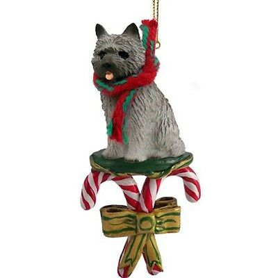 CAIRN TERRIER Grey Gray Dog Candy Cane Christmas Tree ORNAMENT