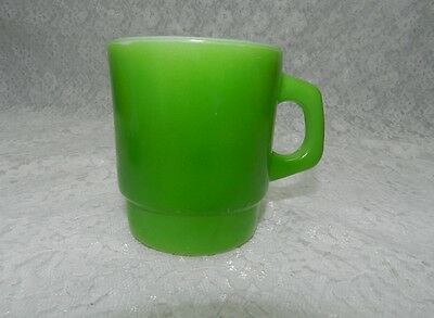 Vintage Fire King Green Stacking Milk Glass Coffee Mug Cup
