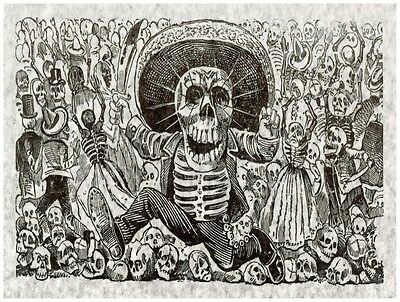 7548.Skeleton in mexican hat running with machete in hand.POSTER.art wall decor
