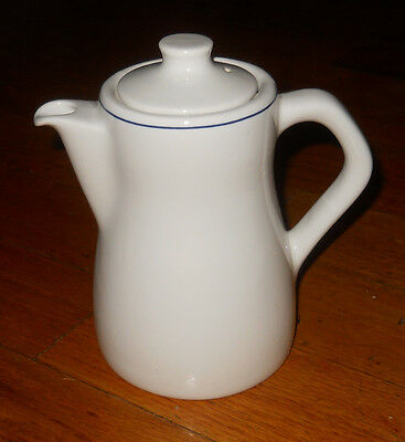 ANTIQUE DUDSON STONEWARE COFFEE/TEAPOT~WHITE W/BLUE RIM~MADE IN ENGLAND~#4034