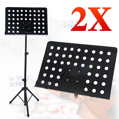 2X Pro Adjustable Folding Heavy Duty Stage Music Sheet Stand Large Black AU NEW