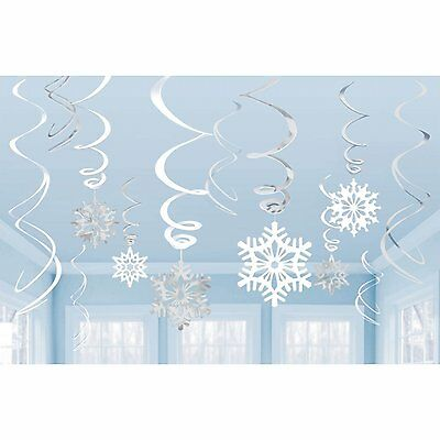 Pack Of 6 Hanging Snowflake Swirl Decorations For Frozen Themed Parties (DP196)