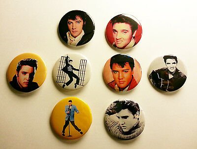 8 piece lot of Elvis Presley pins buttons badges