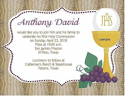 Baptism or First Holy Communion Invitations Girl 100 PicClick – Invitation Cards for First Holy Communion