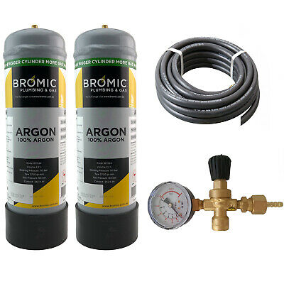 Disposable Gas Bottle - PURE ARGON - 2.2 Litre - 2 x Bottle Combo MIG - TIG