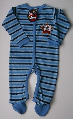 BABY SLEEPSUIT 6 9 12 18 24 months blue stripe all-in-one long sleeve footed