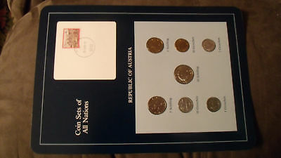Coin Sets of All Nations Austria  7 coin 1986 - 1988 UNC w/card