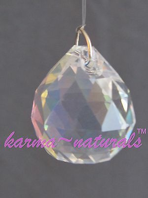 FACETED Iridescent CRYSTAL Prism 20mm Small Round Sphere Feng Shui Healing Reiki