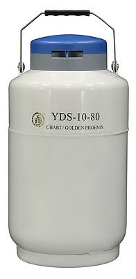 10 L Liquid Nitrogen Tank Cryogenic LN2 Container Dewar with Strap 80 mm Mouth