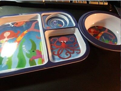 Italian Pottery ADI Imports Ocean Breakfast Set Washer and Microwave Safe-Nice!