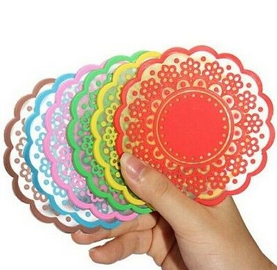 FD870 Silicone Coaster Pad Tea Cup Bowl Lace Flower Tableware Placemat 1PC :)