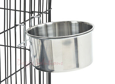 Stainless Steel Hook Dog Bowl For Water or Food Cage Crate Run Pen Kennel Fence