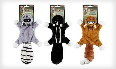Skinneeez unstuffed dog toy stuffing free Masked Bandit roadkill with squeakers