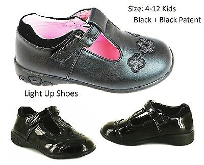 Chatterbox JOSIE SALLY ANN Girls Flashing Heel Light up School Shoes BlackPatent