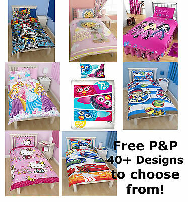 Kids Single Duvet Quilt Cover Bedding Set Childrens Disney Themed Characters New