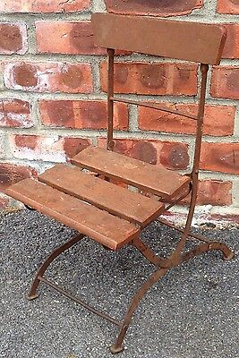 Child Or Early Salesman Sample Folding Chair. Wood Slates Steel Frame Circa 1940