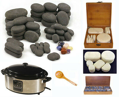 HOT STONE MASSAGE KIT: 78 Basalt/Chakra & Marble Stones + 6.5 Qt Digital Heater